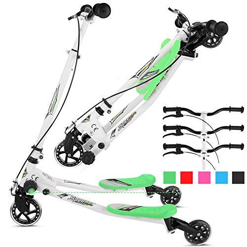 Rampmu Y Flicker Scooter, Wiggle Scooter para niños, 3 ruedas Push Swing Scooter Plegable Speeder Tri Slider Kickboard para edades de 5 a 8 años