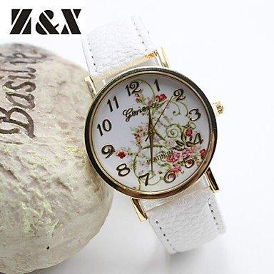 Reloj de moda las flores simplicidad de cuarzo del análogo de cuero de las mujeres (