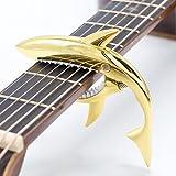 CLOUDMUSIC Shark Capo 6-strings Acoustic Guitar Capo Electric Guitar Capo Classical Guitar Capo Ukulele Capo Zinc Alloy Spring Capo (Golden)