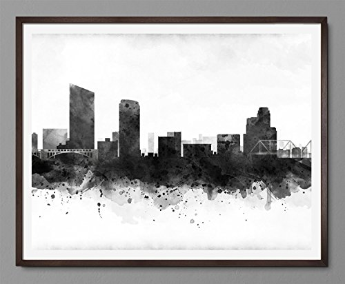 Grand Rapids Cityscape – Skyline Watercolor Art Print Poster – Black and White