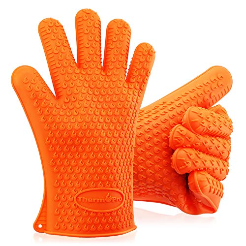 ThermoPro TP100s BBQ Grilling Oven Gloves, Heat Resistant Insulated Silicone Oven Mitts, Kitchen Accessories for Cooking Baking Barbecue Non-Slip Potholder - One size fits all