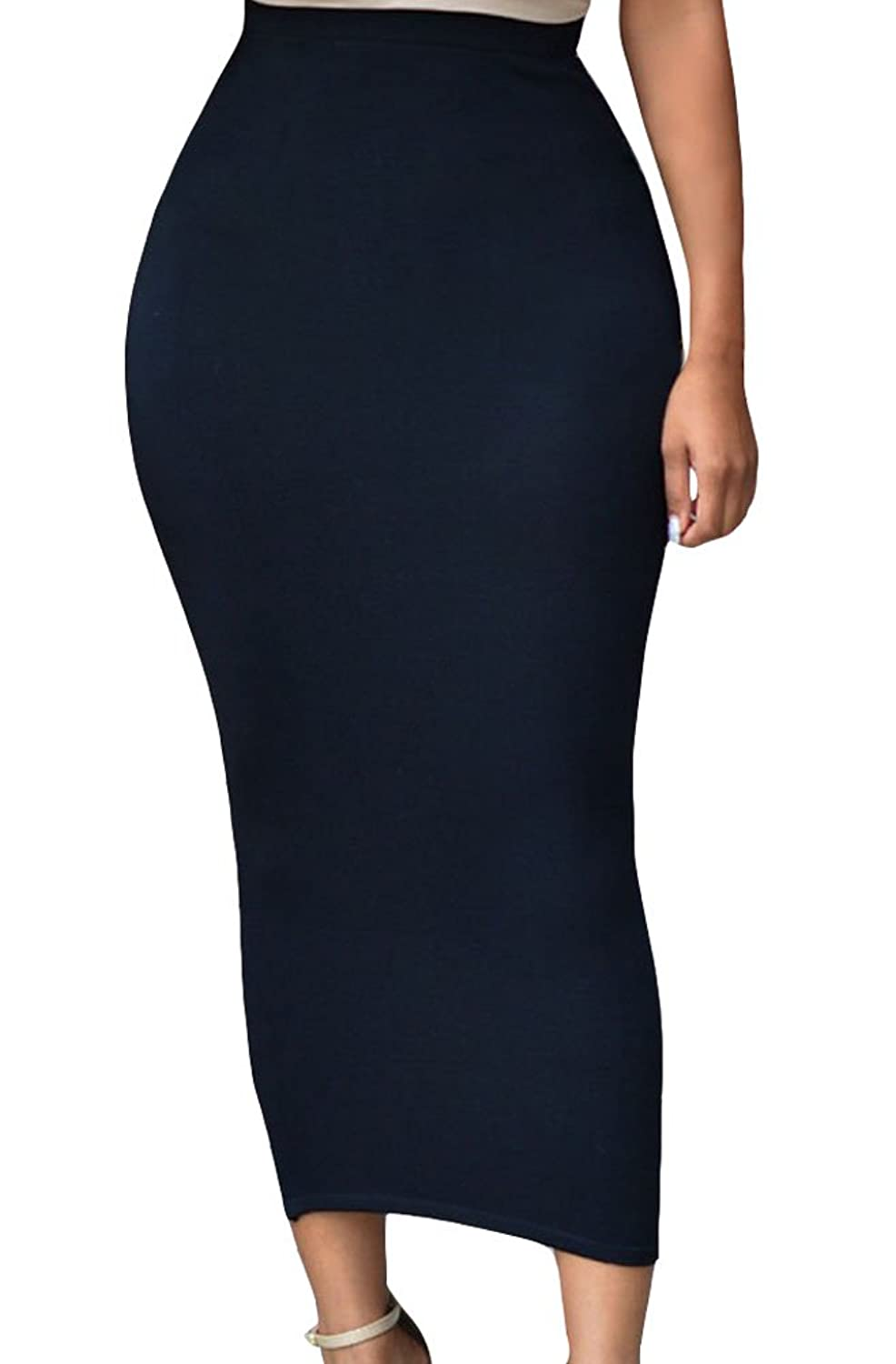Sexy Womens Solid High-waisted Bodycon Cotton Maxi Skirt at Amazon Women's  Clothing store: