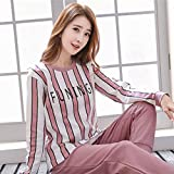 Junson Sleepsuits Women's Cotton Long-Sleeved Pajamas Spring and Autumn Fashion Pink Home Service Suits (Size : M) for You (Size : Large)