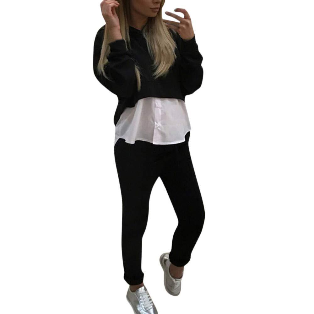 TIREOW Damen Casual Sweatshirt Trainingsanzüge Set Mit Kapuze Oberteile Hosenanzug Zweiteiliges Outfit