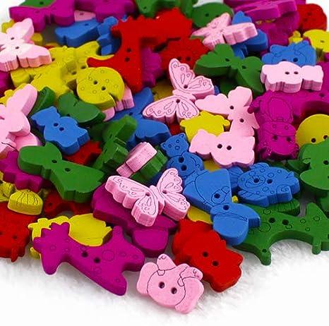 Anniston Art /& Craft Sewing Set 100Pcs Lovely Cartoon Butterfly Flower Ladybug Bear Cow 2 Holes Wood Buttons Sewing Supplies for DIY Beginners Adult Kids Teens Girls