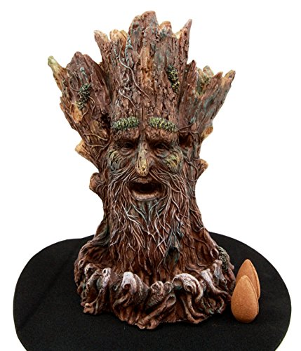(Atlantic Collectibles Whispering Forest Mystic Greenman Backflow Incense Cone Burner Aroma Scent Figurine 6.75