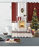 Merry Christmas Season Eve New Year Decorative Decor Gift Shower Curtain Polyester Fabric 3D 72x72'' Mildew Resistant White Fireplace Brown Wall Tree Stocking Bathroom Bath Liner Set Bath Mat