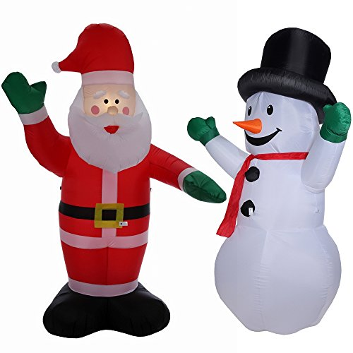 homegear 8 ft christmas inflatable value pack air blown santa claus snowman - Inflatable Christmas