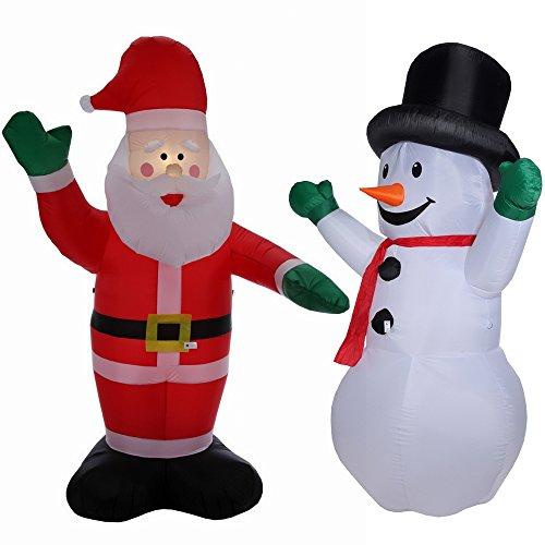 Homegear 8 ft Christmas Inflatable Value Pack - Air Blown Santa Claus + Snowman (Air Blown Inflatables)