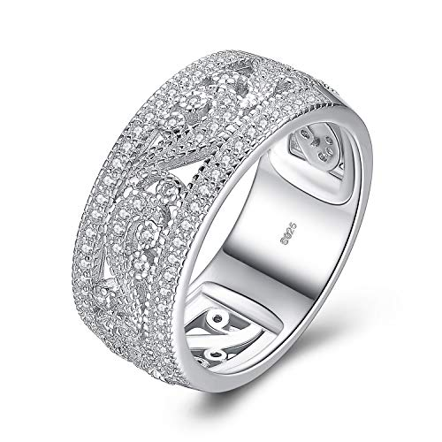 JewelryPalace Vintage Flower Filigree Milgrain 0.4ct Cubic Zirconia Anniversry Wedding Band Ring 925 Sterling Silver Size 6