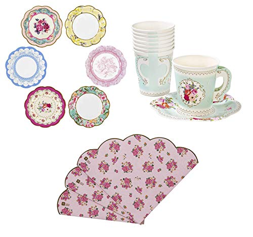 (Talking Tables Truly Scrumptious Tea Party Bundle | Vintage Floral Paper Tea Cups and Saucer Sets 12 Count | Pink Scalloped Floral Paper Napkins 20 Pack | Vintage Floral Small Paper Plates 12 Count)