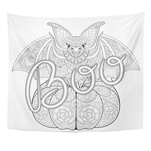 Emvency Wall Tapestry Zentangle Seating Bat on Pumpkin with Typographic Boo for Halloween Freehand Sketch for Adult Anti Stress Coloring Page Decor Wall Hanging Picnic Bedsheet Blanket 60x50 -
