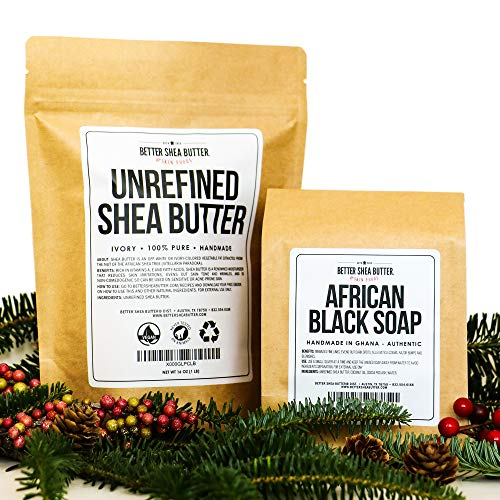 - Shea Butter and Black Soap Gift Set - Unrefined, African, Raw Authentic - Moisturize your Face, Body and Hair Naturally - 1lb each by Better Shea Butter