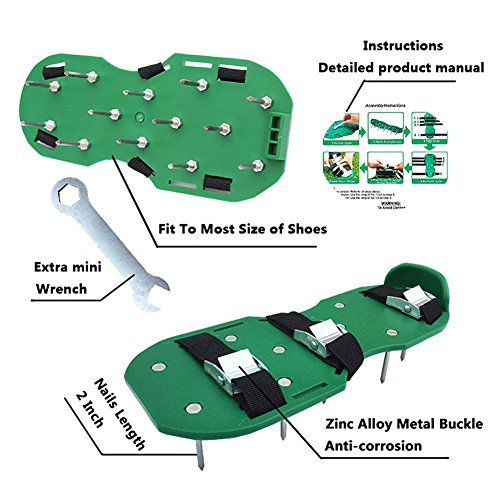 Alotm Lawn Aerator Shoes with Adjustable Zinc Alloy Buckles and 3 Straps, Heavy Duty Spiked Sandals Shoes Garden Tool for Aerating Your Lawn or Yard - One Size Fits All Men and Women by Alotm (Image #1)