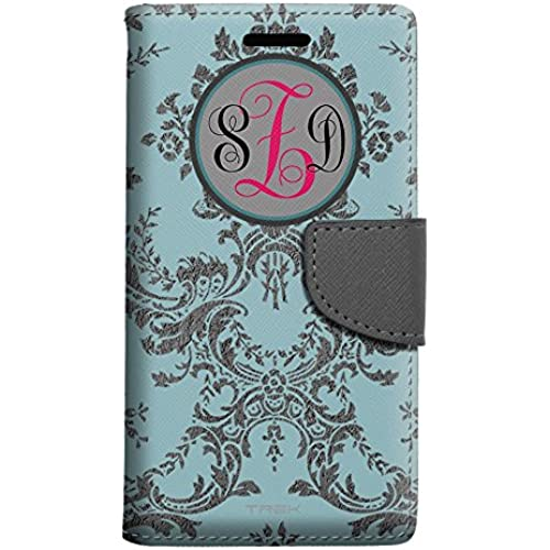 Monogram Samsung Galaxy S7 Edge Wallet Case - Damask Grey on Teal Sales