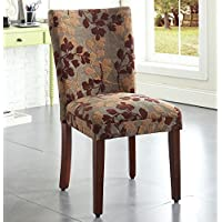 Metro Shop Class Parson Brown/ Tan Leaf Fabric Dining Chair