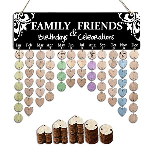 Gift for Mom Grandma-Family Birthday Tracker Calendar Board,DIY Wooden Birthday Anniversary Reminder Calendar Plaque Wall Hanging with Discs Tags for Home Classroom Bar Decorative-Personalized Present