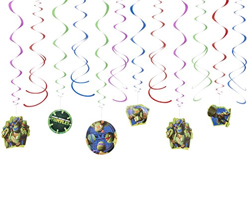 American Greetings, Teenage Mutant Ninja Turtles Hanging Swirl Decorations, 12-Count -