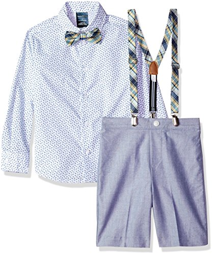Nautica Little Boys' Set with Shirt, Pant, Suspenders, and Bow Tie, Dark Cobalt Chambray, 5