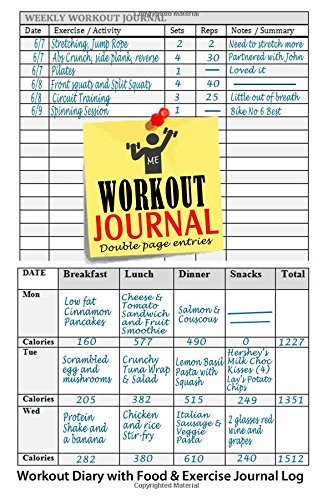 Workout Journal: Workout Diary with Food & Exercise Journal Log ...