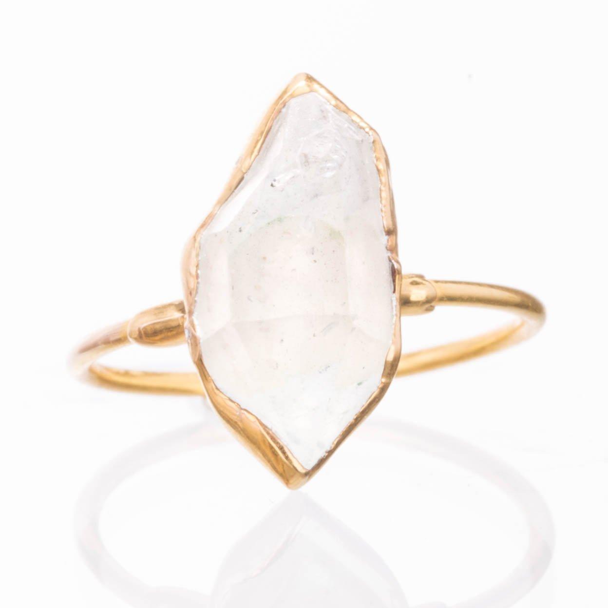 Raw Herkimer Diamond Ring, Yellow Gold, Size 7, Statement Boho Style Jewelry