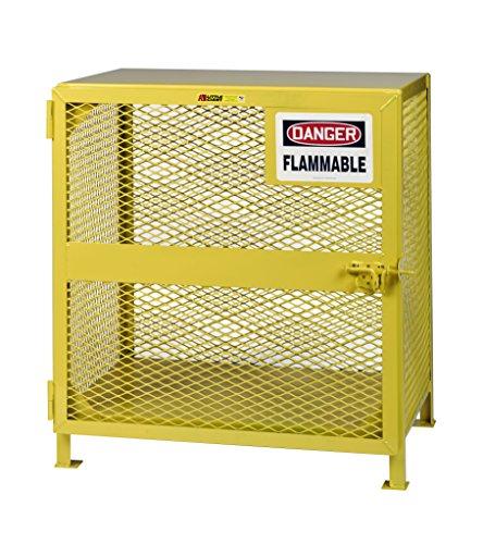 Little Giant GSU-24D-40H Yellow Steel Upright Gas Cylinder Storage Unit Locker, 40