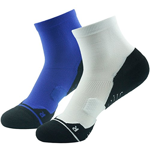 2 Pack Sock Crew Navy (Ankle High Elite Socks Pack, HUSO Men's Women's Dry-fit Coolmax Bombas Low Cut Athletic Compression Short Camping Cycling Socks 2 Pack White Navy Blue)