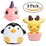 3PC Jumbo Squishy Slow Rising Toy, Kawaii Deer Cup + Penguin + Unicorn, Decompression Squeeze Toys for Collection Gift, Stress Relief Toy by Bagvhandbagro[3PC]