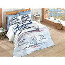 Harbors, 100% Cotton, Ship Multifunctional Four Season Nautical Bedding Set, Quilted Bedspread/Duvet Cover Set, (Twin 3 PCS, Queen 4 PCS) Blue (Full/Queen)