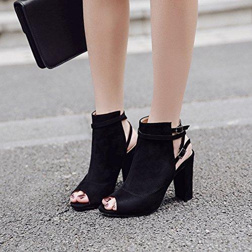 ZHZNVX La nueva primavera y verano nuevo boca de pescado zapatos de tacón grueso con sandalias black