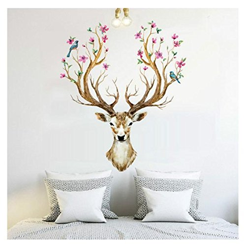 Wall Stickers,Baomabao 3D Plum flower deer Wall Stickers Removable Waterproof Home Decor (Baby First Tv Growth Chart)