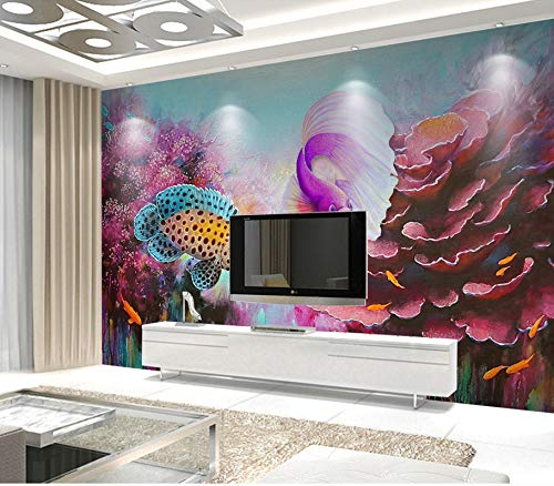 Cheap  200X140CM, 3D Wallpaper - Hand-Painted Oil Painting 3D Underwater World Fish Fish..