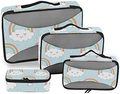 かわいい雲虹の星荷物パッキングキューブオーガナイザートイレタリーランドリーストレージバッグポーチパックキューブ4さまざまなサイズセットトラベルキッズレディース