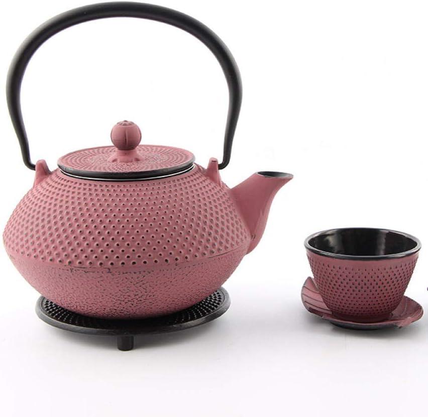 YJX Juego de té de Olla de Hierro Hecho a Mano Antiguo, Tetera de Hierro Fundido sin Recubrimiento