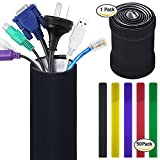 Cable Management Sleeves with 50 Cable Ties, FineGood 118 inch Flexible Organizer Reversible Black and White for PC Computer TV Office Decoration