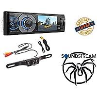 Soundstream VR-345B Single DIN A/V Source Unit with Detachable 3.4 LCD Screen/Bluetooth W/ MINI REAR VIEW CAMERA