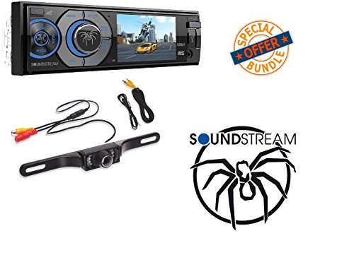"Soundstream VR-345B Single DIN A/V Source Unit with Detachable 3.4"" LCD Screen/Bluetooth W/ MINI REAR VIEW CAMERA"