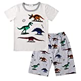 Little Kids Pajamas Sets,Jchen Baby Kids Boy Cartoon Dinosaur Print T-Shirt Shorts Sleepwear Homewear Outfit for 1-6 Yrs (Age:4-5 Years Old, White)