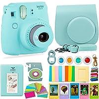 Cámara y accesorios FujiFilm Instax Mini 9 - Cámara instantánea, estuche de transporte, filtros de color, álbum de fotos, pegatinas, lentes Selfie y más (azul hielo)