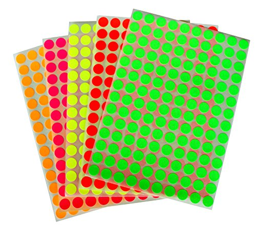"Neon Color Coding Labels 3/8"" (0.375) inch 10 mm Round Dot Stickers - 5 Different fluorescent Colors Dots Label - three eights inch rounds sticker 1400 pack"