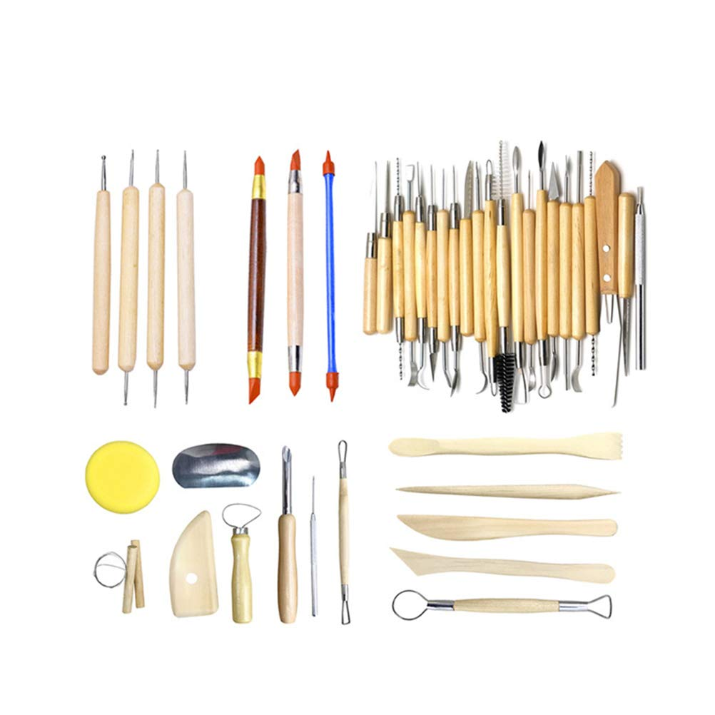 Vosarea 42PC Ceramic Clay Tools Pottery Sculpting Tools Set for Beginners Professional Art Crafts Wood Steel Schools Home Safe for Kids