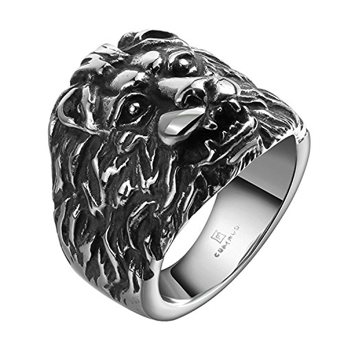 Godyce Lion Head Rings for Women Men Titanium Stainless Steel Vintga Silver Black Size 11 (Lion Head Ladies Ring)