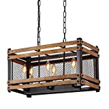 Anmytek Square Metal and Wood Chandelier Basked Pendant Six Lights Oil Black Finishing Iron Net Lamp Shade Retro Vintage Industrial Rustic Ceiling Lamp Caged Light