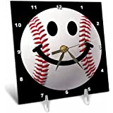 3dRose dc_76657_1 Baseball Smiley Face-Sporty Sports Fan Smilie Red and White Ball on Dark Black Background-Desk Clock, 6 by 6-Inch