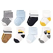 Luvable Friends Baby 8 Pack Newborn Socks, Bulldozer, 6-12 Months