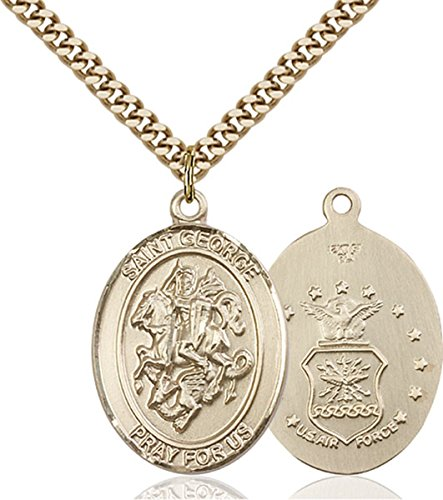 George Air Force Medal - 14K Gold Filled Saint George Air Force Military Medal Pendant, 1 Inch