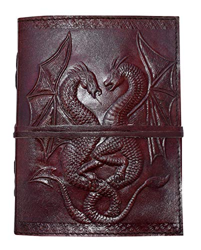 Pearl Leather Handmade Embossed Double Dragon Brown Leather Note Book Journal Writing Book 120 Pages Unlined Paper Personal Diary 7x5 Inch