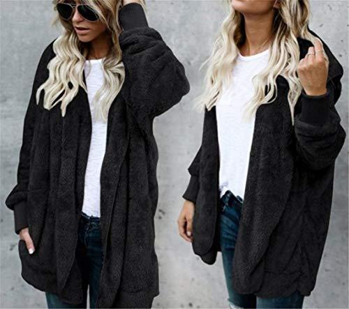 In Donna Strada Cerniera Di Stile Cappotti Inverno Giacca Peluche Elegante Modo Nero zzp7q