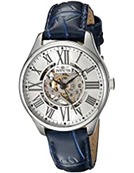 Invicta Womens Vintage Automatic Stainless Steel and Leather Casual Watch, Color:Blue (Model: 23658)