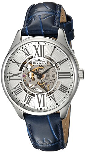 Invicta Women's Vintage 34mm Stainless Steel Automatic Watch with Leather Strap, Blue (Model: 23658)